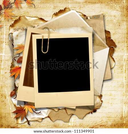 Vintage background with polaroid frame and autumn leaves - stock photo