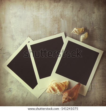 Vintage background with polaroid frame and seashells - stock photo