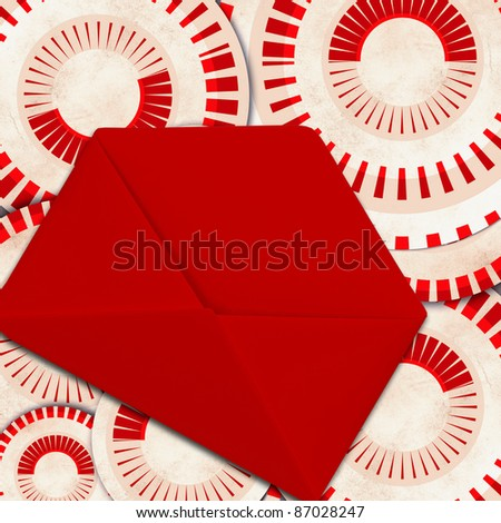 vintage background with red envelope