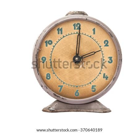 Vintage background with retro alarm clock on white - stock photo
