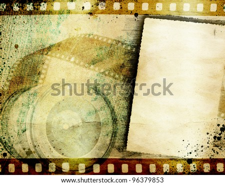 Vintage background with retro camera and negative film - stock photo
