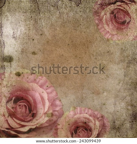 Vintage background with  roses over retro paper - stock photo