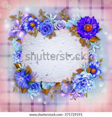 Vintage background with stamp frame and flowers for congratulations and invitations, wedding card background with a border of blue and purple flower, green leaves and handmade paper texture. - stock photo