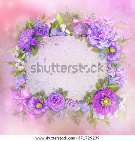Vintage background with stamp frame and flowers for congratulations and invitations, wedding card background with a border of blue and purple flower, green leaves and handmade paper texture - stock photo