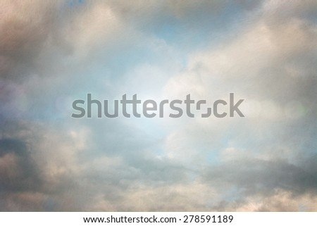 Vintage background with the sky and the fibrous texture - stock photo