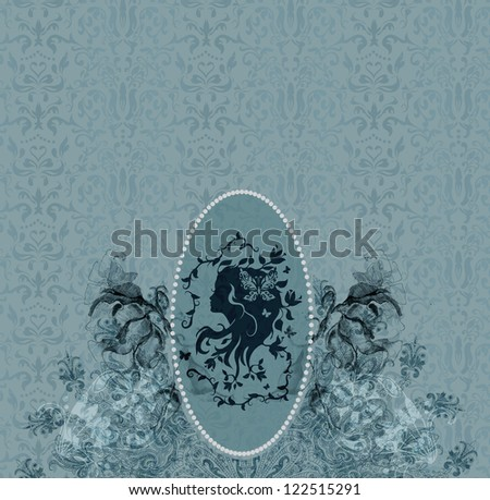 Vintage background with woman cameo - stock photo