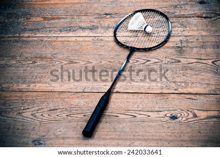 Vintage badminto racquets with shuttlecock - leasure sport game equipment - stock photo