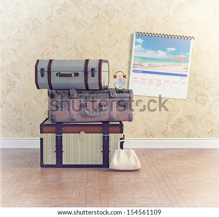 vintage baggage, waiting for the flight time. concept - stock photo