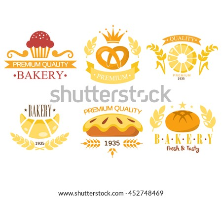 Vintage Bakery Labels - stock photo