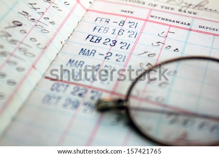 vintage bank saving account ledger from the 1920s - stock photo