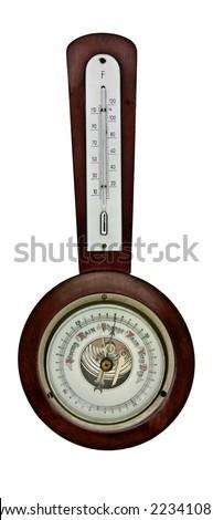 vintage barometer isolated over white background - stock photo