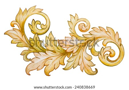 Vintage baroque floral scroll foliage ornament watercolor golden retro style design element  - stock photo