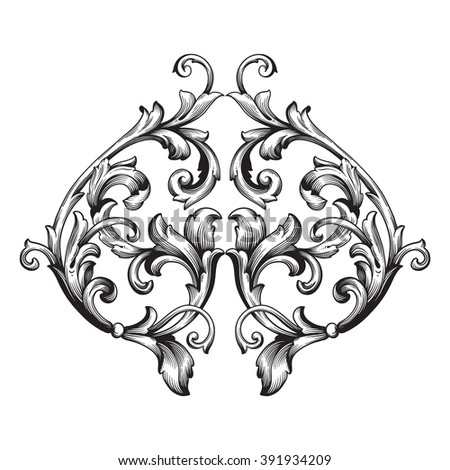 Vintage baroque frame scroll ornament engraving border floral retro pattern antique style acanthus foliage swirl decorative design element filigree calligraphy wedding - stock photo