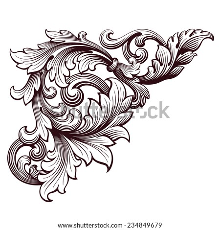 vintage Baroque scroll design frame corner pattern element engraving retro style ornament - stock photo