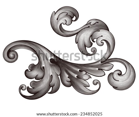 vintage Baroque scroll design frame engraving  acanthus floral border pattern element retro style filigree  - stock photo