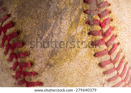 vintage baseball concept/Close up texture - stock photo