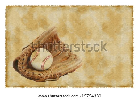 Vintage baseball glove and ball background - stock photo