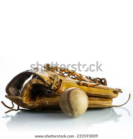 Vintage Baseball glove on White Background  - stock photo