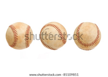 Vintage Baseball in Three Views Isolated on a White Background - stock photo