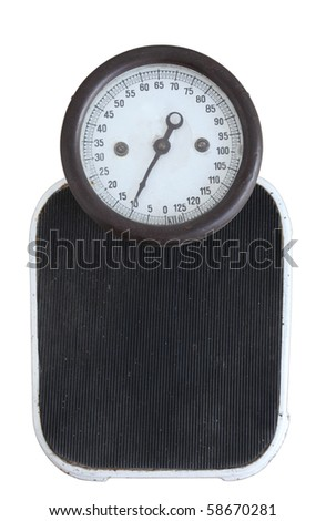Vintage bathroom scales isolated over white background