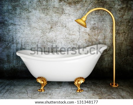 Merveilleux Vintage Bathtub In Room With Grunge Wall
