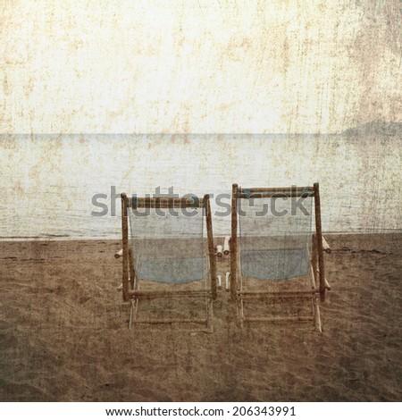Vintage beach chairs - stock photo