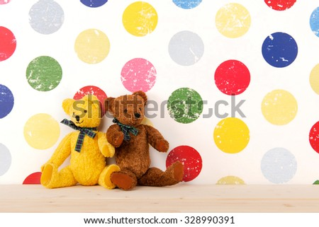 vintage bears in colorful nursery room - stock photo