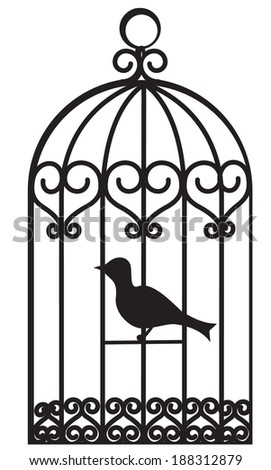 Vintage beautiful bird cage with bird inside - stock photo