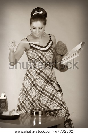 Vintage beautiful housewives. Sepia - stock photo
