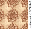 Vintage beige floral seamless pattern with doodle flowers. Vector version also exist. - stock photo