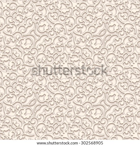 Vintage beige raster background, curly ornament, seamless pattern
