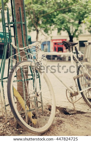 Vintage bicycle in a street in Paris