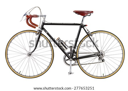vintage bicycle isolate on white background  - stock photo