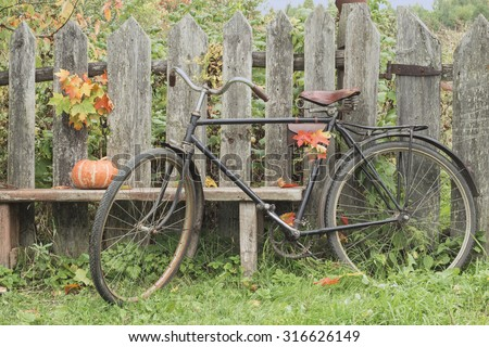 Vintage Bicycle stands at the fence. Pumpkin lying on the garden bench. Autumn still life.