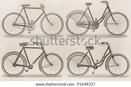 Vintage bicycles types from the beginning of 20th century period - Picture from Meyers Lexicon books collection (written in German language ) published in 1906. - stock photo