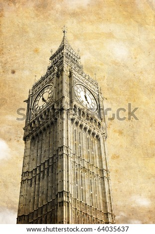Vintage Big Ben card - stock photo