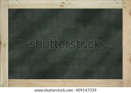 Vintage big rectangular chalkboard/blackboard with wood frame, with traces removing or erase, dark green color surface. background texture. - stock photo