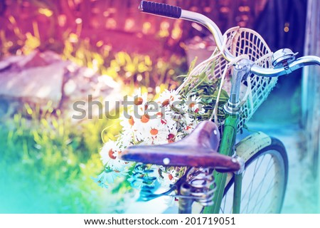 Vintage Bike HandleBar with flowers and Colorful Background Bokeh /summer background with bicycle (toned picture) - stock photo