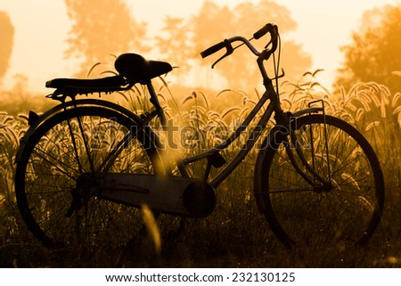 Vintage bike in the meadow at sunrise - stock photo