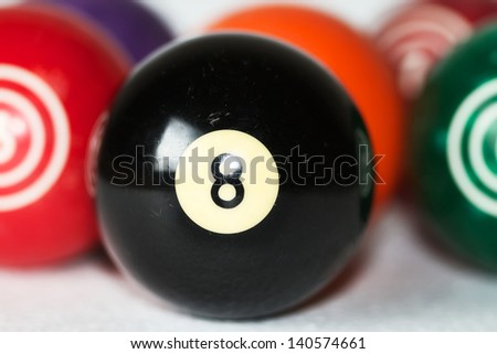 Vintage billiard balls with eight ball in focus - stock photo