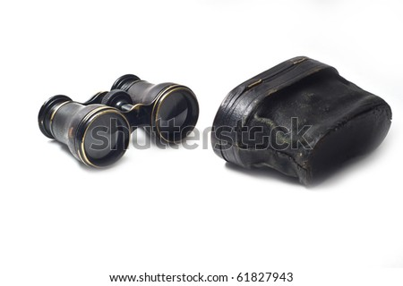 Vintage binoculars isolated - stock photo