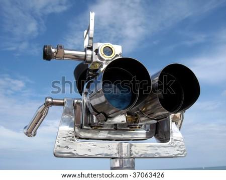 Vintage binoculars spyglass - stock photo