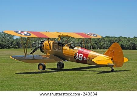 Vintage Biplane - stock photo