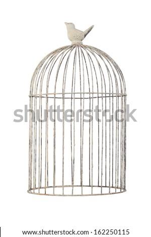 vintage bird cage isolate on white background - stock photo
