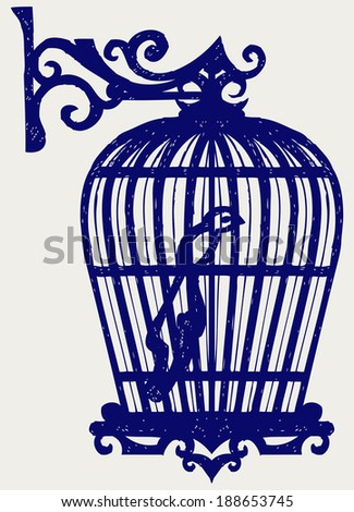 Vintage bird cages. Doodle style. Raster version - stock photo