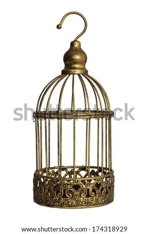 Vintage birdcage isolated on white background - stock photo