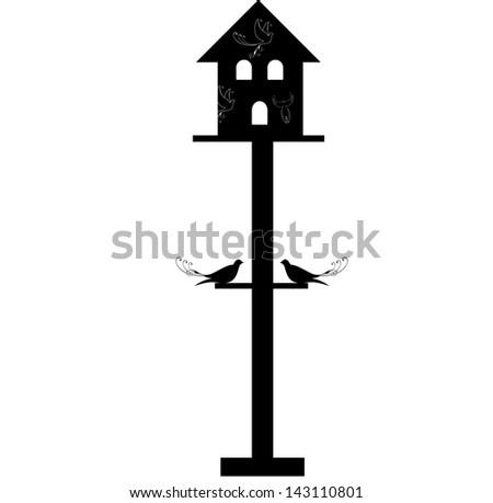 vintage birdhouse and birds - stock photo