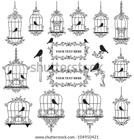 Vintage birds and birdcages collection - stock photo