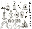 Vintage birds and birdcages collection.  Isolated on white. Clipart. - stock vector