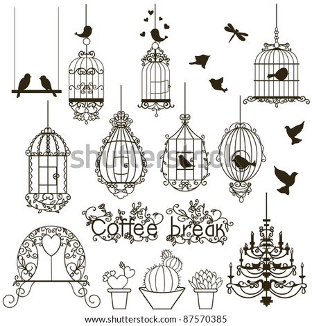 Vintage birds and birdcages collection.  Isolated on white. Clipart.